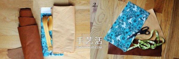 不织布和皮革的拼接手拿包手工制作图解教程 -  www.shouyihuo.com