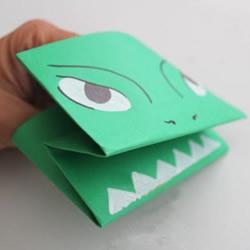怪兽手偶的折法图解 幼儿折纸小怪兽手偶