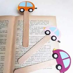 可爱卡通书签制作方法 卡纸雪糕棍做汽车书签