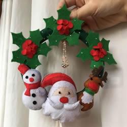 不织布圣诞花环制作 手工布艺圣诞花环的做法