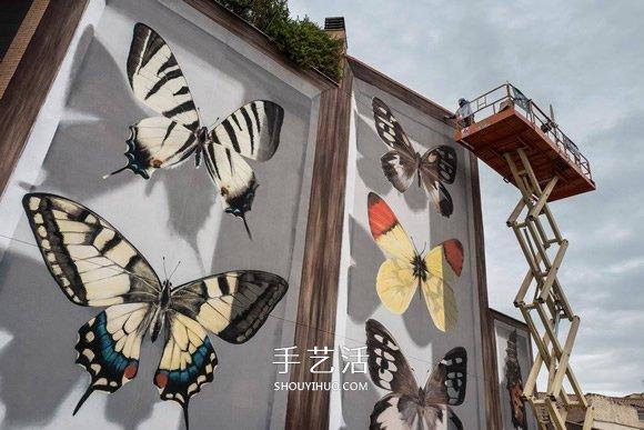 巨型牆壁塗鴉 整幢公寓牆壁都變成了蝴蝶標本