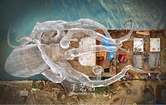 巨大章魚為伍 二戰戰艦成為藝術感的人工島礁