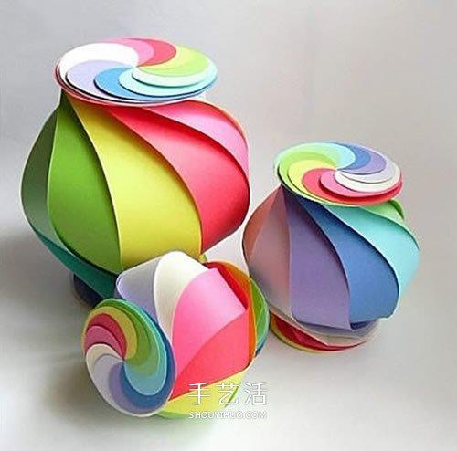 卡纸做灯笼的简单方法 多彩灯笼手工制作教程 -  www.shouyihuo.com