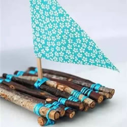 幼儿园手工制作竹筏 树枝竹筏的做法图解