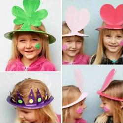 纸餐盘手工制作玩具帽 幼儿园餐盘做帽子