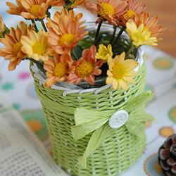 漂亮的纸藤手工制作 包括花瓶、笔筒和收