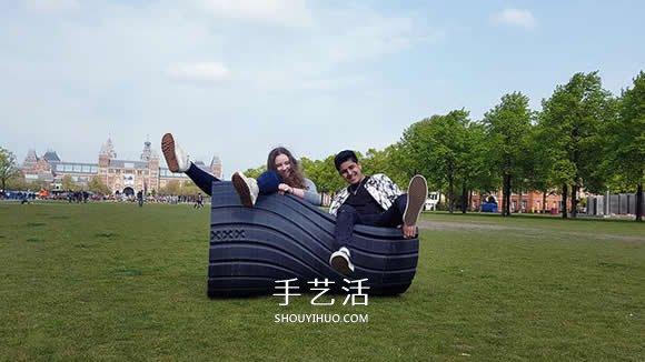从垃圾袋变成好玩的摇椅 废弃塑胶的废物利用 -  www.shouyihuo.com