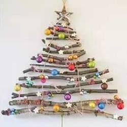 树枝做圣诞树挂饰方法 DIY简单圣诞树装饰