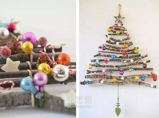 樹枝做聖誕樹掛飾方法 DIY簡單聖誕樹裝飾圖解