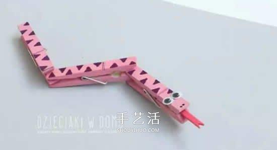 木夾子手工製作小蛇 幼兒做玩具蛇的教程