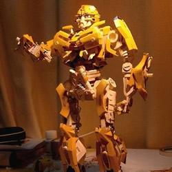 变形金刚大黄蜂模型 废纸盒制作大黄蜂作品