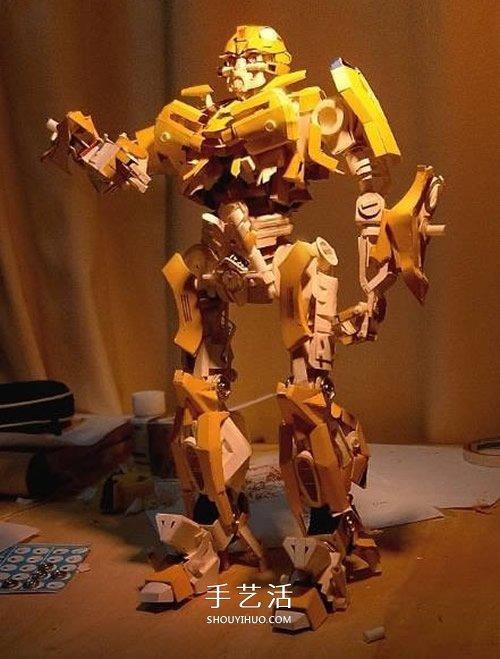 变形金刚大黄蜂模型 废纸盒制作大黄蜂作品 -  www.shouyihuo.com
