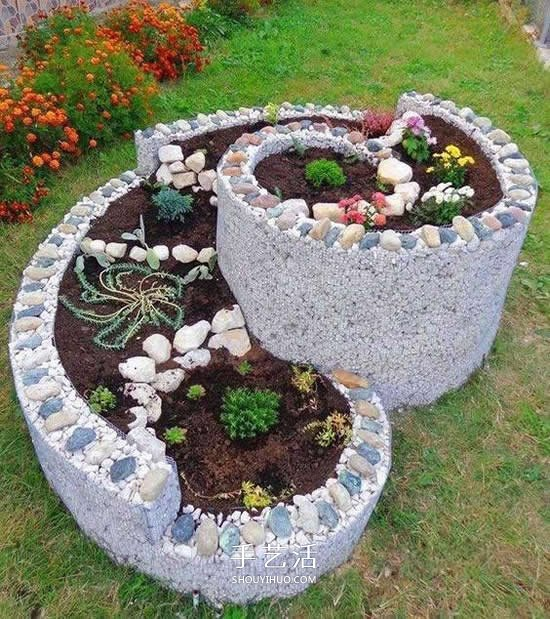 DIY螺旋花坛的方法 立体螺旋花坛的做法图片 -  www.shouyihuo.com