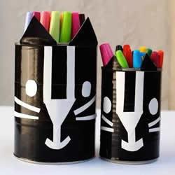 奶粉罐做小黑猫笔筒 卡通笔筒用奶粉罐制作