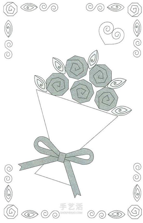 衍纸玫瑰花装饰画做法 情人节衍纸手捧花礼物 -  www.shouyihuo.com