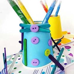 纸杯笔筒制作方法图片 幼儿手工制作卡通笔筒