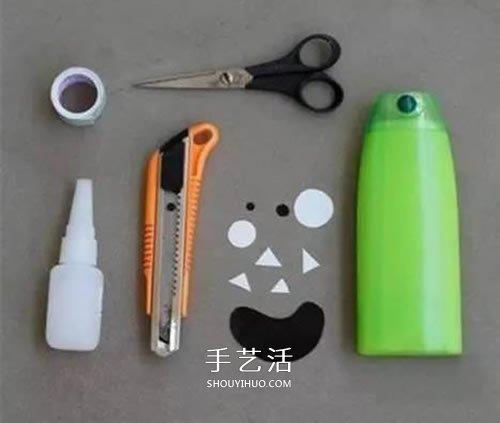 洗髮水瓶廢物利用做筆筒 沐浴液瓶DIY卡通筆筒