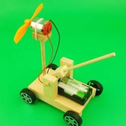 自制电动风力战车教程 手工风力电动车的做法