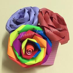 漂亮七彩玫瑰花的做法 简单手工折纸彩虹