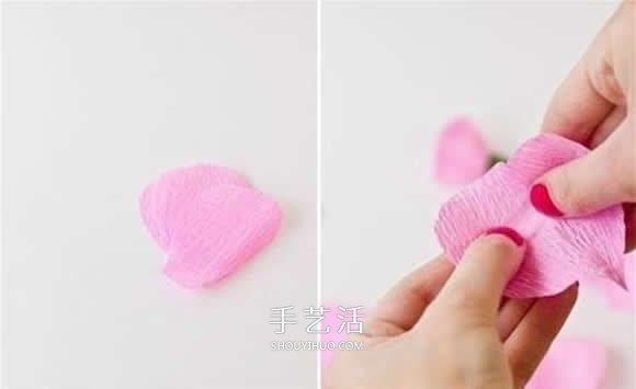 皱纹纸月季花手工制作 月季用皱纹纸做的教程 -  www.shouyihuo.com