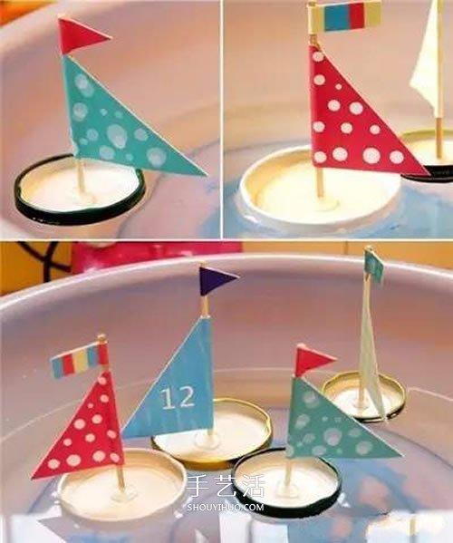 瓶蓋手工製作小帆船 簡單瓶蓋小船的做法教程