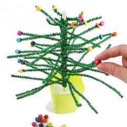 毛根手工制作圣诞树 儿童做毛根圣诞树教