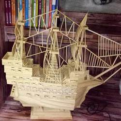 古代战船模型手工制作 纯以一次性筷子完