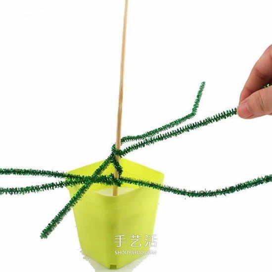 毛根手工製作聖誕樹 兒童做毛根聖誕樹教程