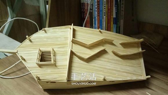 变废为宝趣味制作船_古代战船模型手工制作 纯以一次性筷子完成(3)_手艺活网