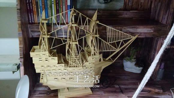 变废为宝趣味制作船_古代战船模型手工制作 纯以一次性筷子完成(4)_手艺活网