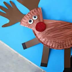 纸餐盘手工制作驯鹿 环保圣诞节麋鹿的做法