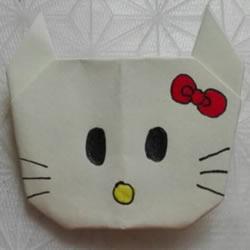 简单Hello Kitty折纸 儿童折凯蒂猫的教程
