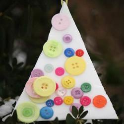 泡沫纸废物利用做圣诞树 纽扣圣诞树挂饰DIY