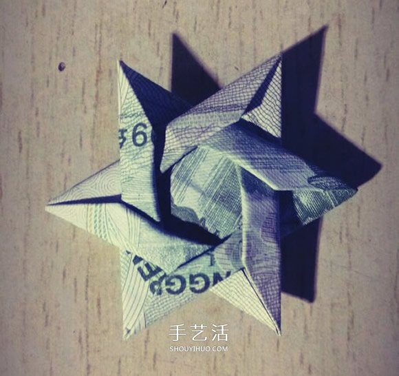 一元纸币折纸六角星 复杂纸币六角星星折法