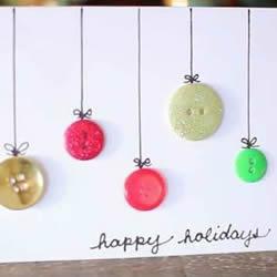 Happy Holiday卡片制作 纽扣制作节日快乐卡