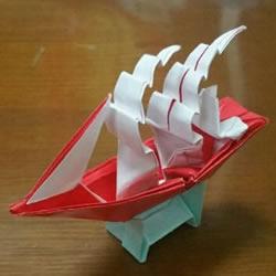 扬帆帆船的折法图解 折纸古代帆船的步骤图