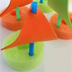 简单又可爱帆船做法 幼儿用海绵做小船教程