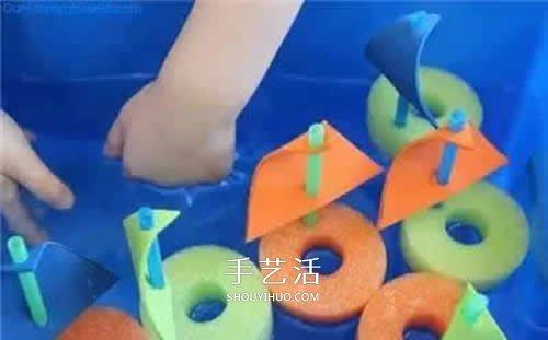 簡單又可愛帆船做法 幼兒用海綿做小船教程