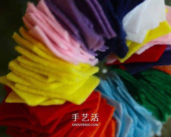 不织布做多彩圣诞花环 最简单布艺圣诞花环DIY -  www.shouyihuo.com