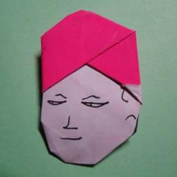 怎么折纸人物头像图解 戴帽子的人折法过