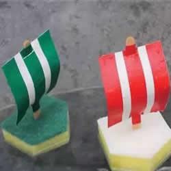清洁海绵做帆船的方法 幼儿园海绵小船制作