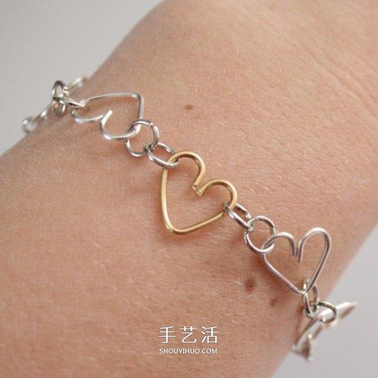愛心手鏈的製作方法 金屬絲DIY心形手鏈教程