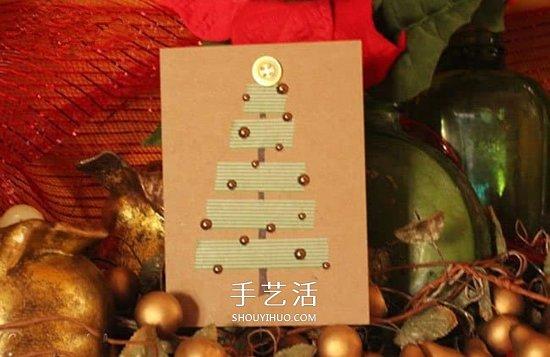 用胶带纸贴出圣诞贺卡 最简单圣诞节贺卡DIY -  www.shouyihuo.com