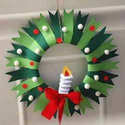 简单做圣诞花环教程 纸餐盘制作圣诞花环挂饰