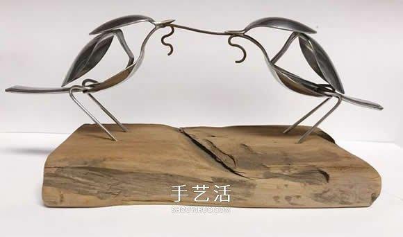 竟然是用勺子做的 精致的小鸟雕塑龙都娱乐品 -  www.shouyihuo.com
