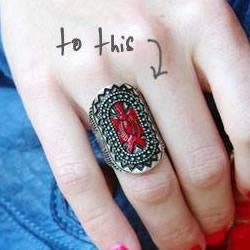 简单的指甲油小改造 让金属戒指拥有美丽色彩