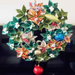 卷纸筒废物利用 和纸花一起做漂亮圣诞花环