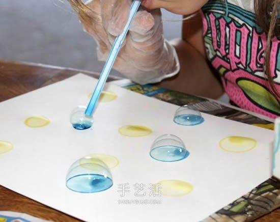 創意新年賀卡DIY 用肥皂泡泡畫出美麗圖案