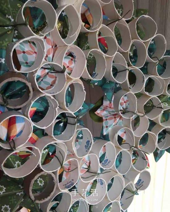 捲紙筒廢物利用 和紙花一起做漂亮聖誕花環