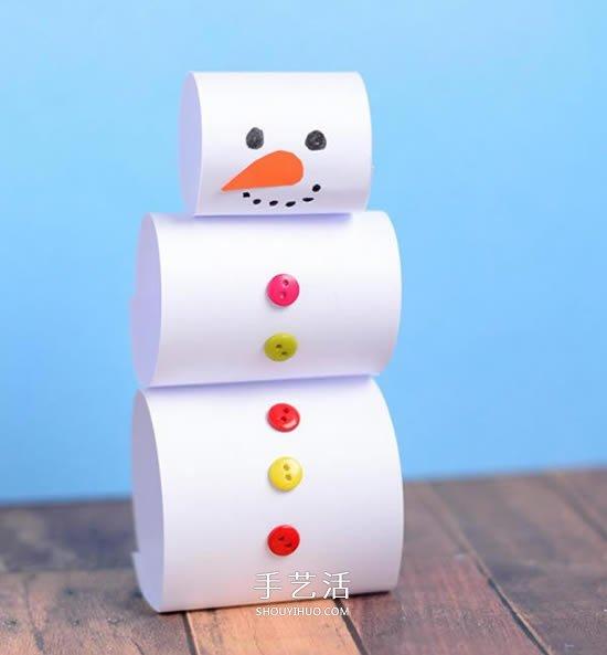 幼兒園手工小製作 簡單做可愛的立體雪人教程
